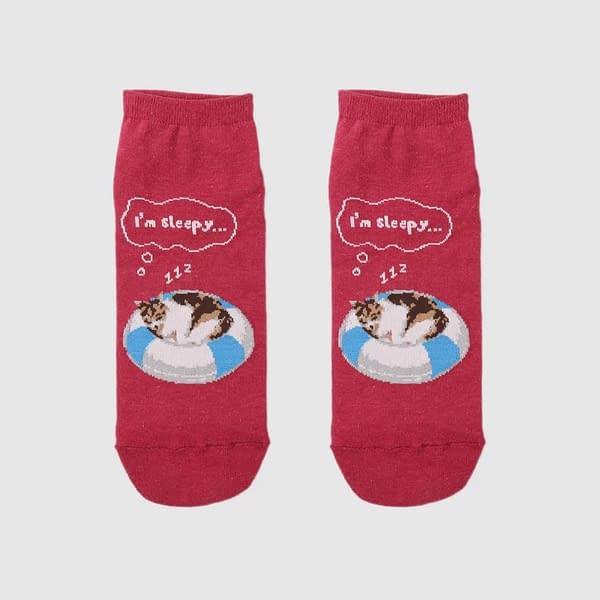 Sleepy Cats Ankle Socks OddSockLoc